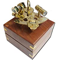 """THORINSTRUMENTS (with device) 4"""" Captain Brass Sextant with Hardwood Wooden Box"""
