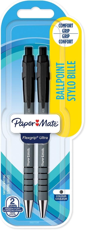 Paper Mate Flexgrip Retractable Ultra Ballpoint Black Pen Pack Size of 12 Pens