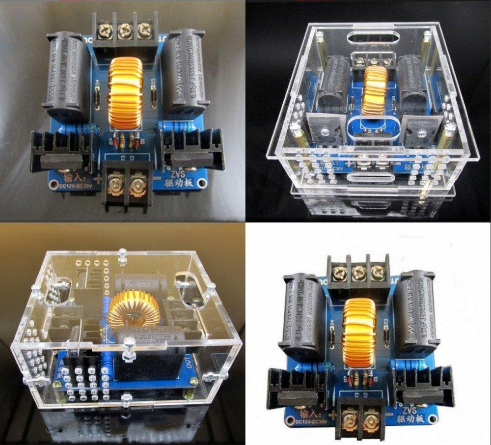 YalinGE ZVS Tesla Bobina Placa de controlador/Generador Marx/Escalera de Jacob, fuente de alimentación de alto voltaje DC 12 V 24 V 19 V con funda: Amazon.es: Amazon.es