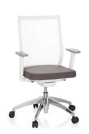 hjh OFFICE 657630 silla de oficina ASPEN WHITE tejido de malla blanco / gris silla alta gama silla escritorio