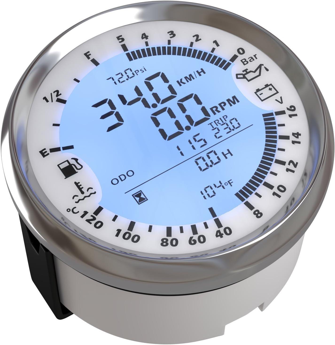 ELING Medidor de indicador multifuncional GPS Velocímetro Tacómetro Hora Temperatura del agua Nivel de combustible Voltímetro de presión de aceite 12V 3-3/8 pulgadas (85mm) Con luz de fondo