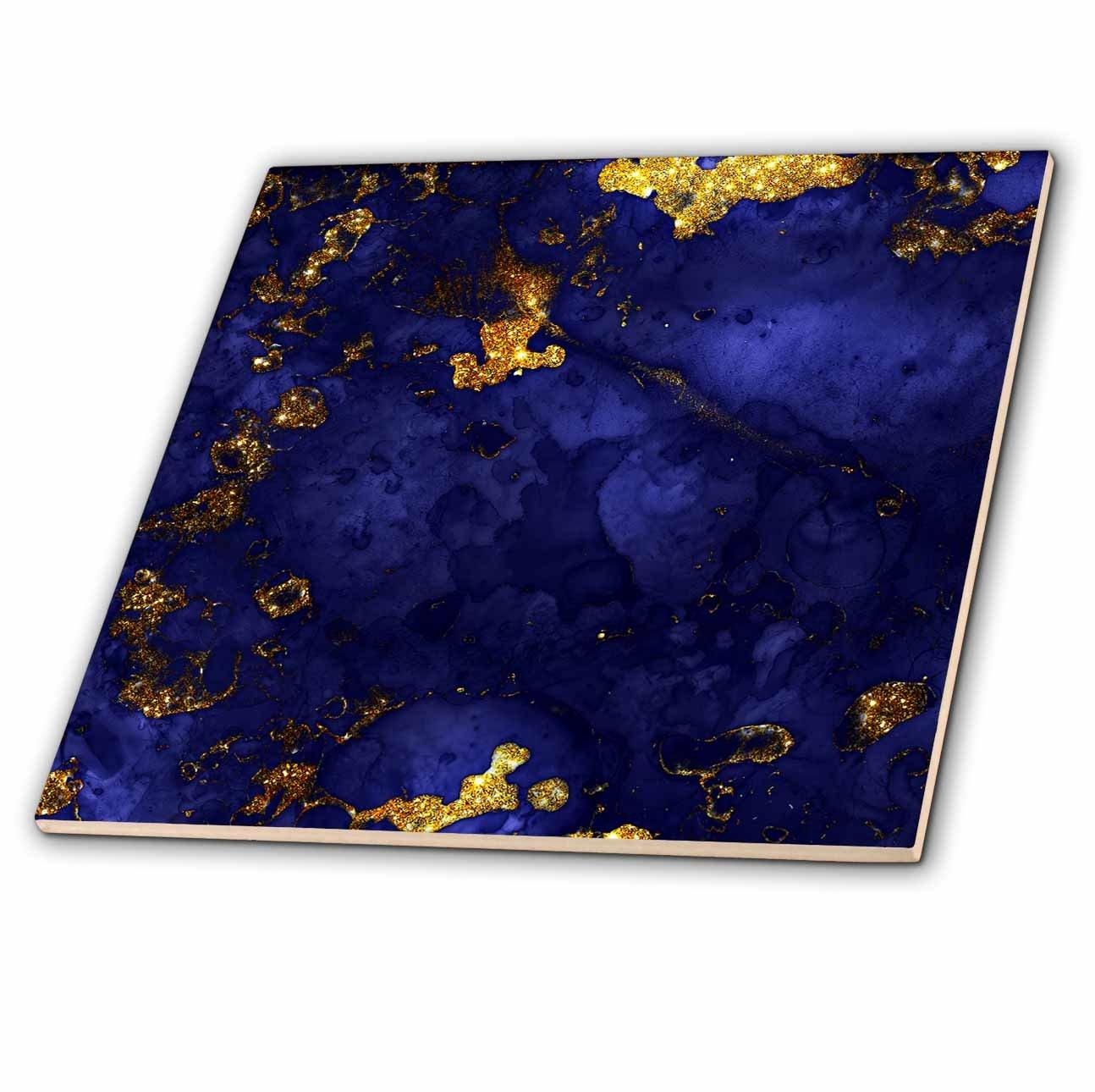 3dRose Uta Naumann Faux Glitter Pattern Image of Trendy Indigo Blue and Green Glitter Ink Metal Marble Agate ct/_275090/_7 8 Inch Glass Tile