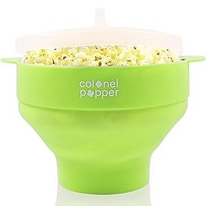 Colonel Popper Microwave Popcorn Popper Maker - Silicone Hot Air Pop Corn Bowl (Green)
