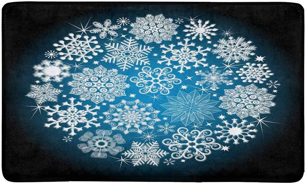 INTERESTPRINT Christmas Snowflakes and Stars Indoor Doormat Large 30 X 18 Inches Non Slip Front Entrance Door Mat Rug