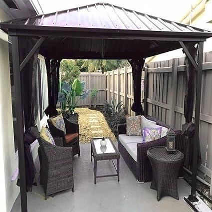 AMGS Hot Tub Gazebo Canopy Patio Outdoor Tent 10x10 BBQ Grill Cover Set  Garden Backyard Heavy