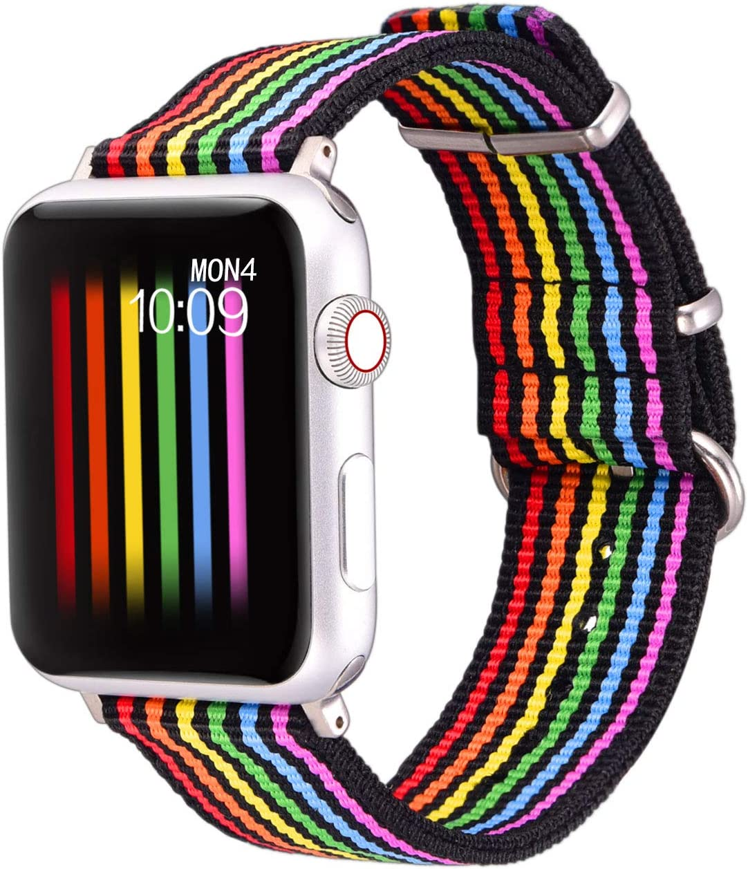 Bandmax Rainbow Watch Band Compatible for Apple Watch,LGBT Woven Nylon Wristband Replacement Sport Strap Compatible for iWatch Series 5/4/3/2/1 38MM/40MM All Models(Black Bottom with Steel Buckle)