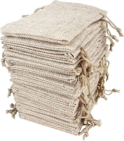 4.5 X 3.5 Lot Burlap Bags With Drawstring Gift For Wedding Party And DIY Craft
