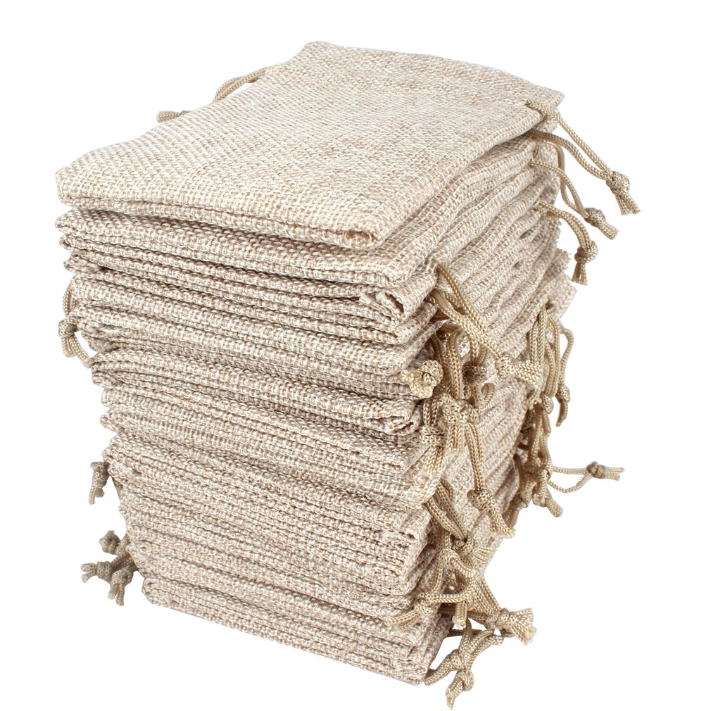 Hapdoo Lot of 100 Burlap Bags with Drawstring Gift Bags Jewelry Pouches Sacks for Wedding Party and DIY Craft, 5 x 3.5 Inches