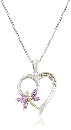 """Sterling Silver and 14k Rose Gold Created-Pink Sapphire and Diamond-Accent Pendant Necklace, 18"""""""