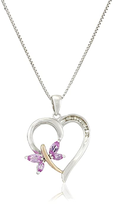 e9100ccd0f99 Sterling Silver and 14k Rose Gold Created-Pink Sapphire and Diamond-Accent Pendant  Necklace