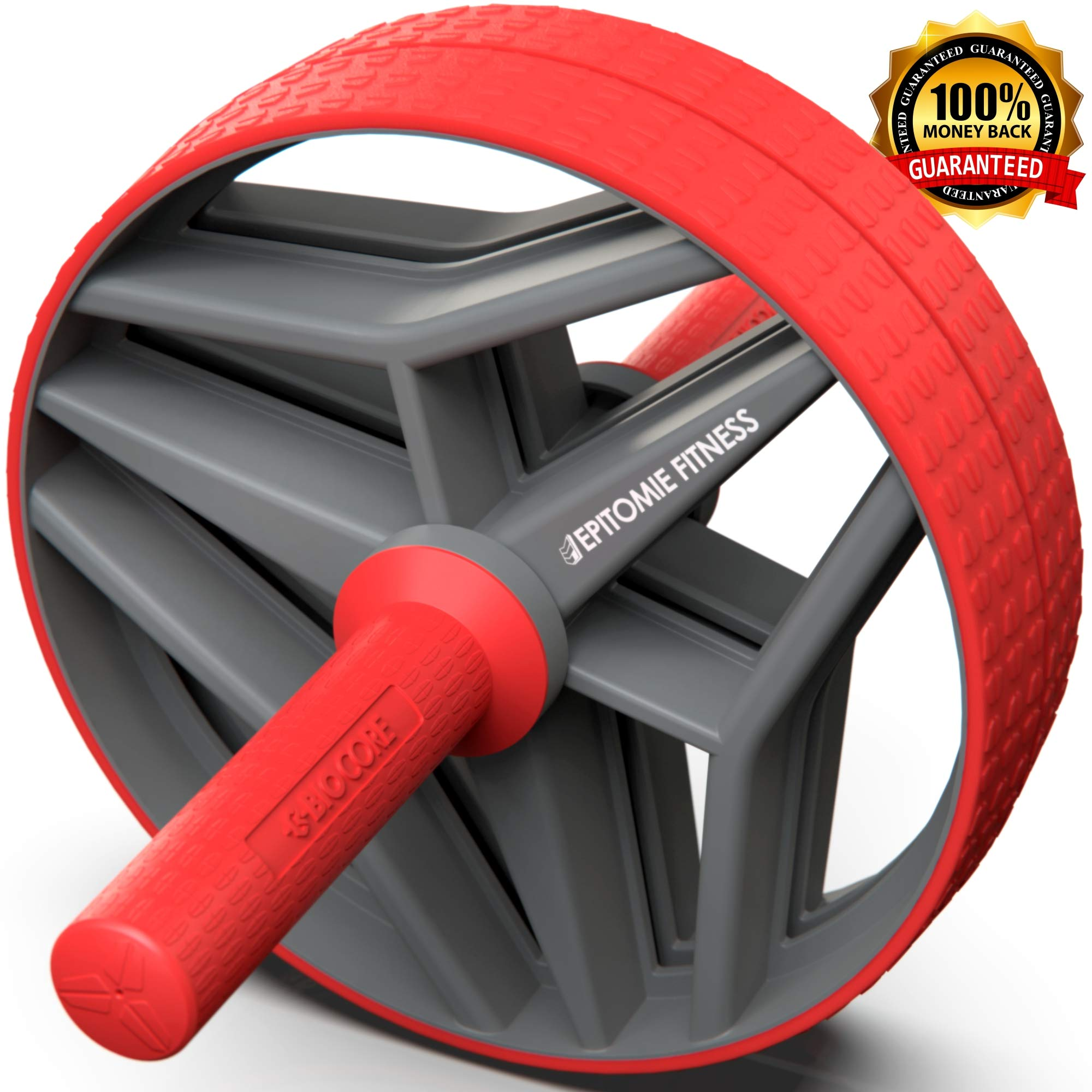 Epitomie Fitness BIO Core Ab Roller Wheel with 2 Configurable Wheels and Non-Slip Handles - Ab Wheel Trainer with Kneeling Mat for Strong Core (Red/Grey)