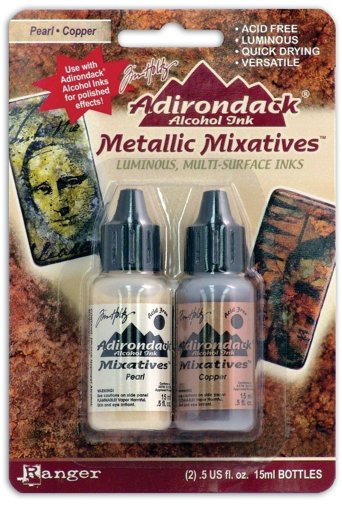Ranger Tim Holtz Adirondack Alcohol Ink Mixatives Pearl and Copper (4 Pack)