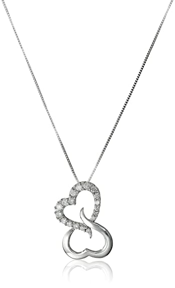 Amazon 10k white gold open heart diamond pendant necklace 17 10k white gold open heart diamond pendant necklace 17 cttw h i color mozeypictures Gallery