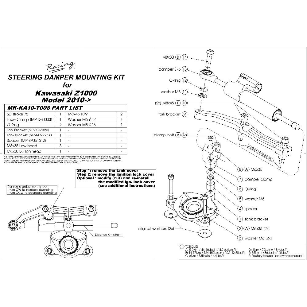 Color : E LIWIN-Moto Accesorios Direcci/ón de la motocicleta de alta calidad Amortiguador estabilizador y soporte For Kawasaki Z1000 Z 1000 2010 2011 2012 2013 10 11 12 13