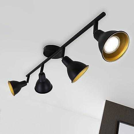 Briloner Leuchten - Lámpara de techo LED (metal, 4 W, incluye 4 ledes GU10 de 4 W, 400 lúmenes, foco giratorio e inclinable), diseño retro/vintage