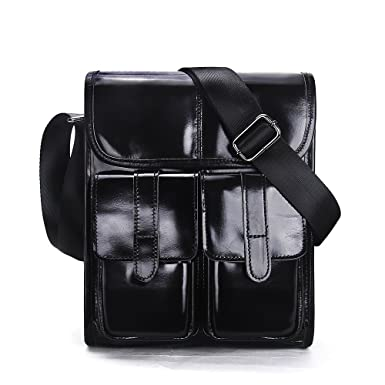 930a04ed71 Contacts Genuine Leather Men Messenger Crossbody Shoulder Bag Travel Handbag  Black