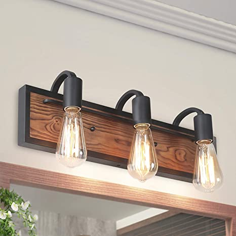 promo code 83974 447f6 LNC Bathroom Lighting Fixtures Over Mirror Wooden Farmhouse Vanity Sconce  Rustic Wall Lamp, A03440