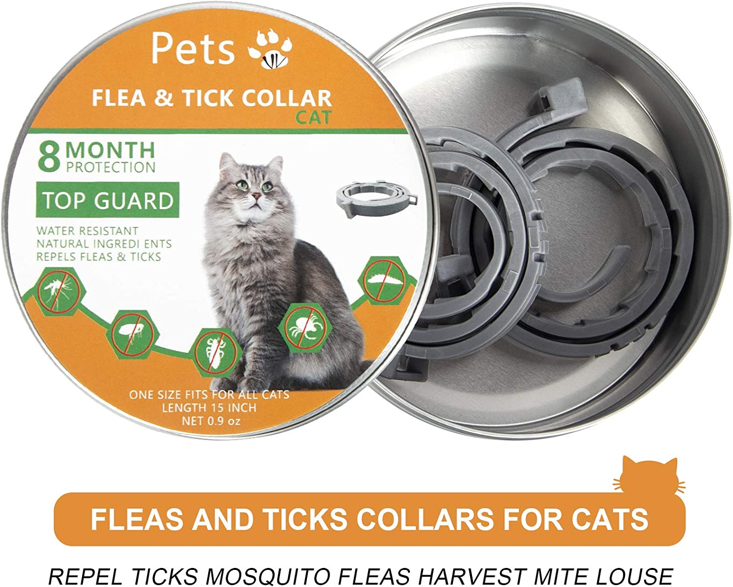 Petsvv 2 Pack Flea Collar for Cats Cat Flea Collar for 8-Month Adjustable Collars for Cat Kitty