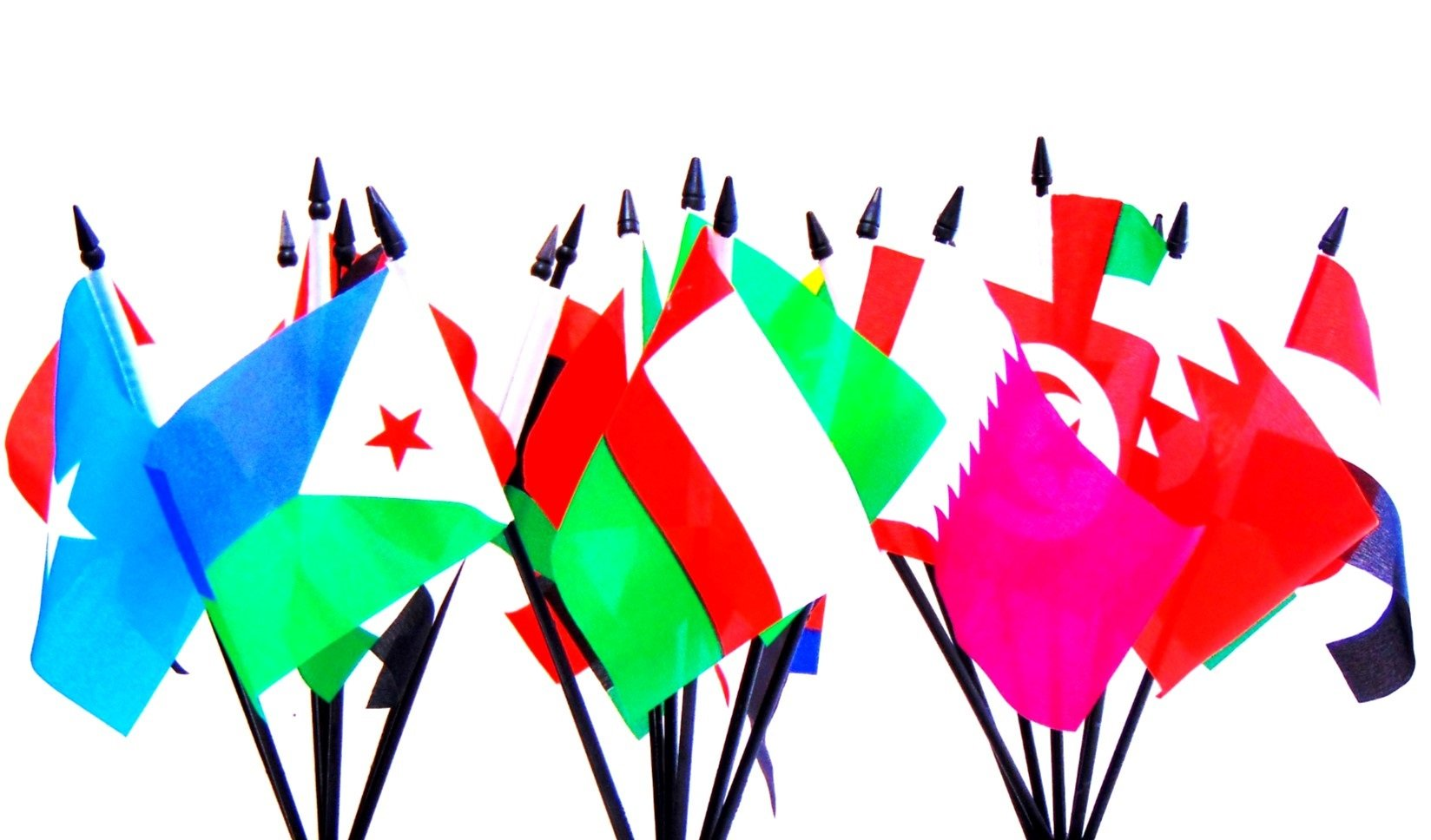 Arab League World Flag SET-22 Polyester 4''x6'' Flags, One Flag for Each Country in The Arab League 4x6 Miniature Desk & Table Flags, Small Mini Stick Flags