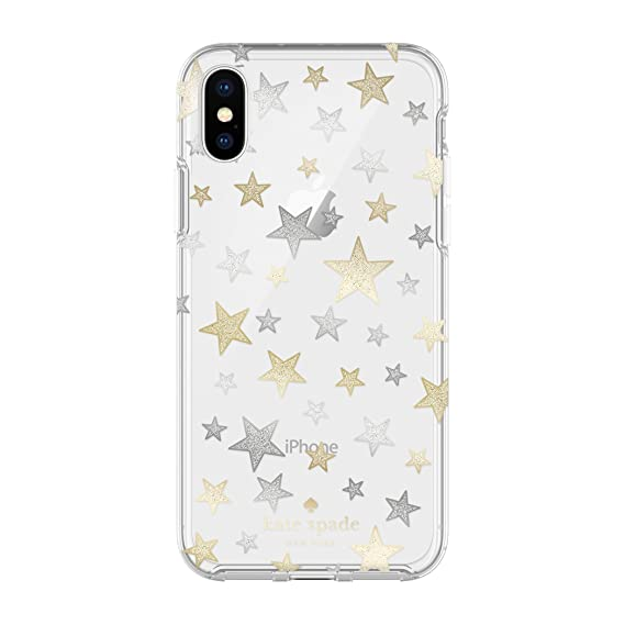 new concept f8ea5 05634 Incipio Apple iPhone X Kate Spade New York Protective Hard-Shell Case -  Stars Clear/Gold/Silver