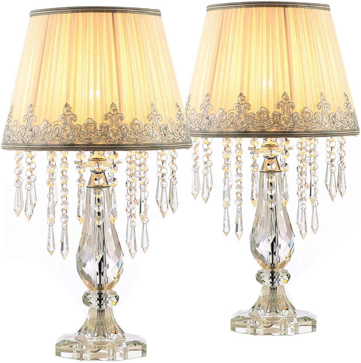 """Moooni Two Set of White Ruched Fabric Crystal Table Lamp Crystal Base Glam Bedside Desk Lamps Set of 2 for Bedroom Living Room Dimmable W 12.8"""" X H 22.8"""""""