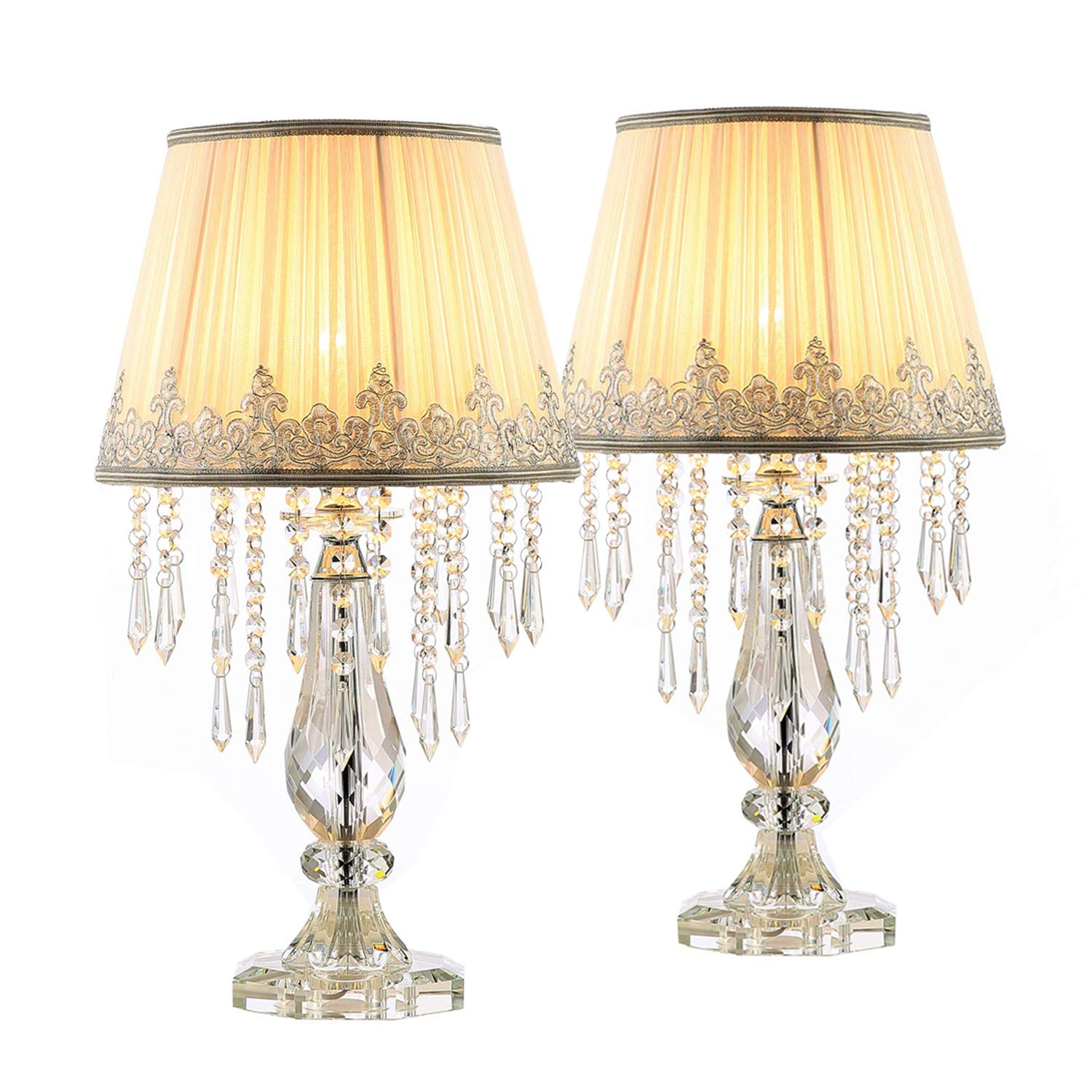 Moooni Two Set White Ruched Fabric Crystal Table Lamp Crystal Base Bedside Desk Lamp for Bedroom Living Room Set of 2 Dimmable W 12.8'' X H 22.8''