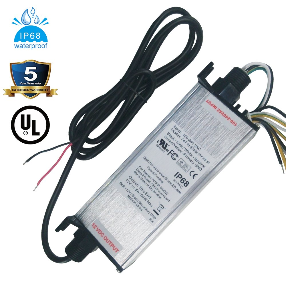 UL Listed Waterproof IP68 LED Power Supply 12 Volt 60W DC Driver Transformer Low Voltage Output With 4.9FT/1.5M Wire