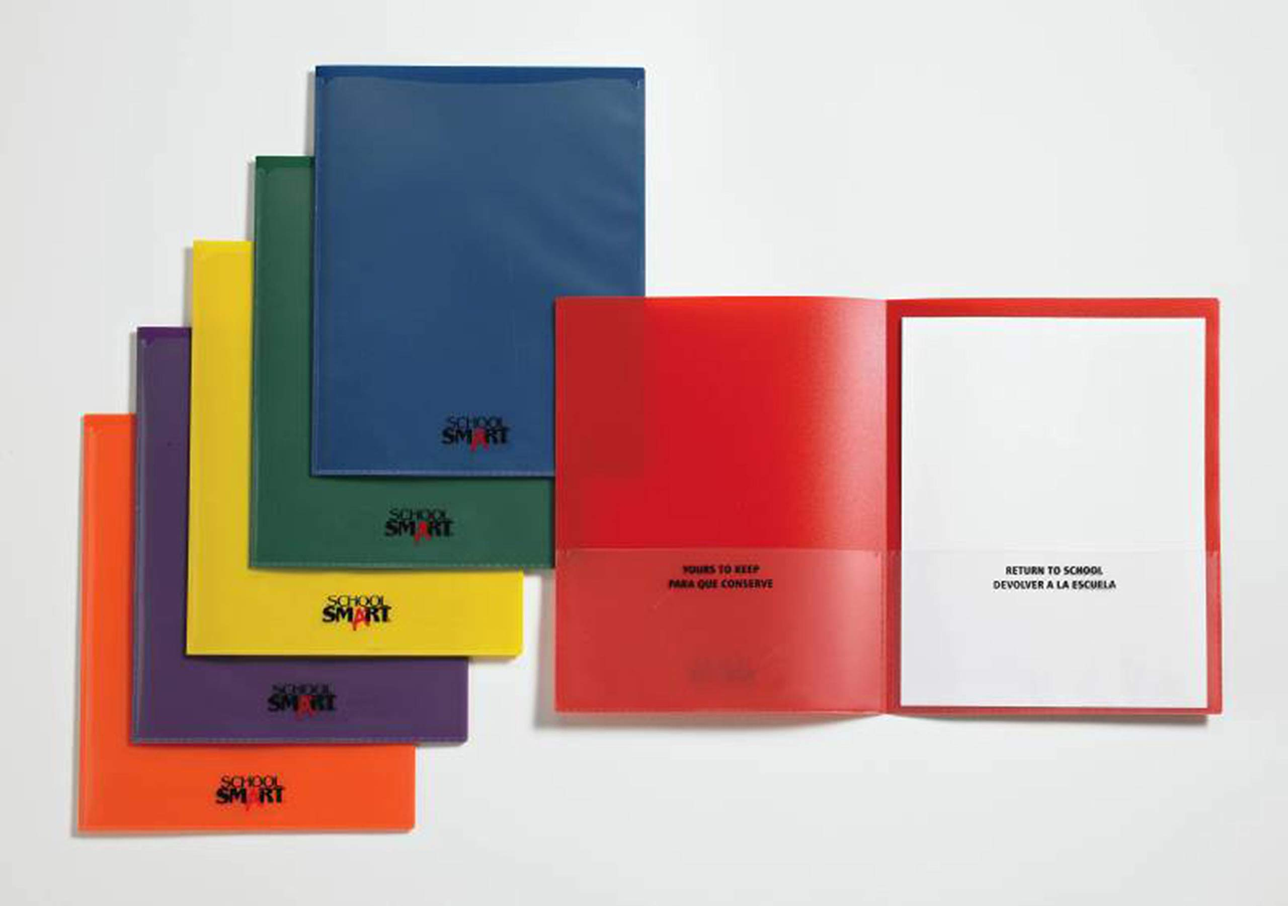 School Smart Take Home Heavy-Duty Folders, Assorted Colors, Set of 24