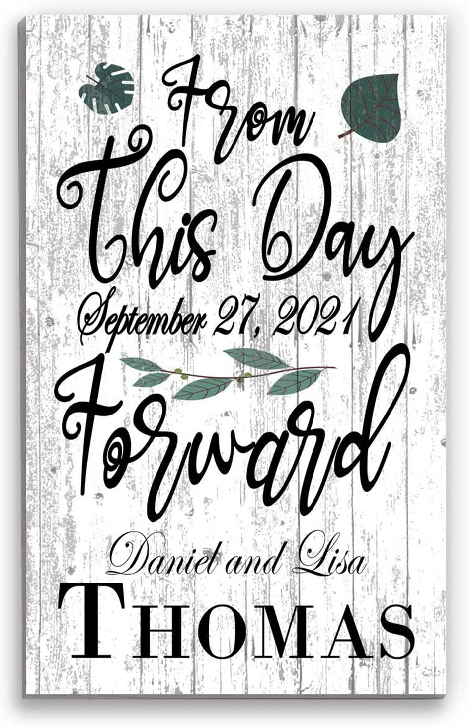 Broad Bay Personalized Wedding Gift Name Sign Custom New Married Couple Family Established Date Home Decor Art- from This Day Forward - Decoration Customized for Newlyweds EST.