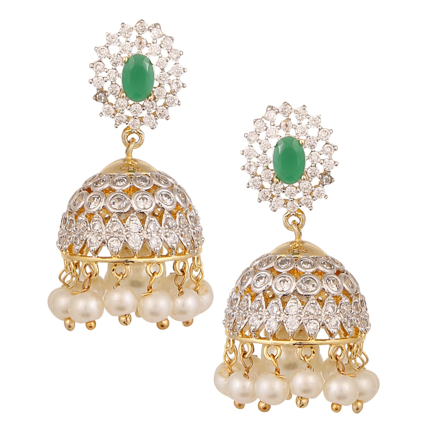 earrings with jhumka diamond emerald tassel