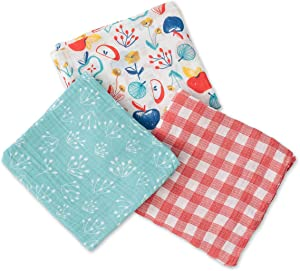 Red Rover Kids Breathable Cotton Muslin Swaddle 3 Pack (Apple Slice)