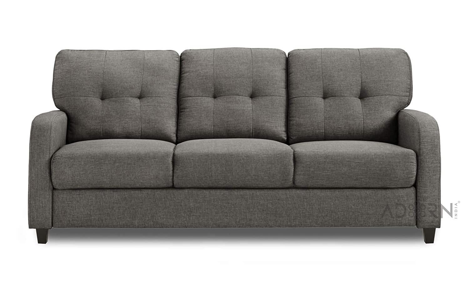 Adorn India Astor Three Seater Sofa (Grey)