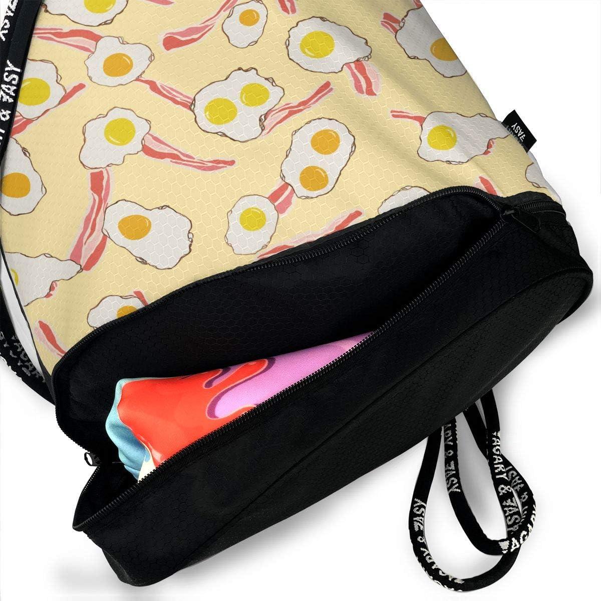 Drawstring Backpack Breakfast Sandwich Bacon Eggs Bags