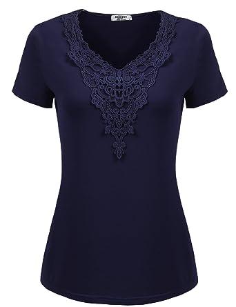 d40f31405d1a16 Zeagoo Damen T-Shirt Tops mit Spitze Langarmshirt Spitzenshirt Bluse Hemd Shirt  Oberteil (EU
