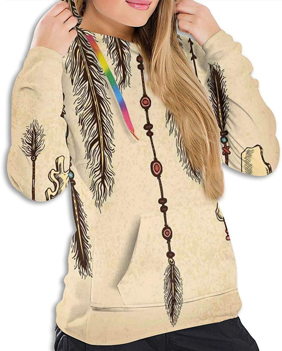Womens Hoodie,Bohemian Ethnic Hair Accessories with Bird Feathers Beads On String Sketch Digital Print,Lady Sweatshirt