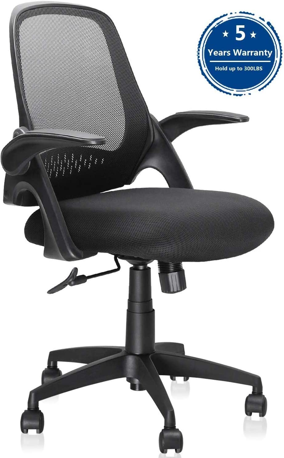 Ergousit Mid-Back Mesh Office Chair, Ergonomic Desk Chairs Swivel Computer Task Chairs with Adjustable Height and Flip-up Armrest – Lumbar Support and Sponge Cushion in Black 1919A-Black