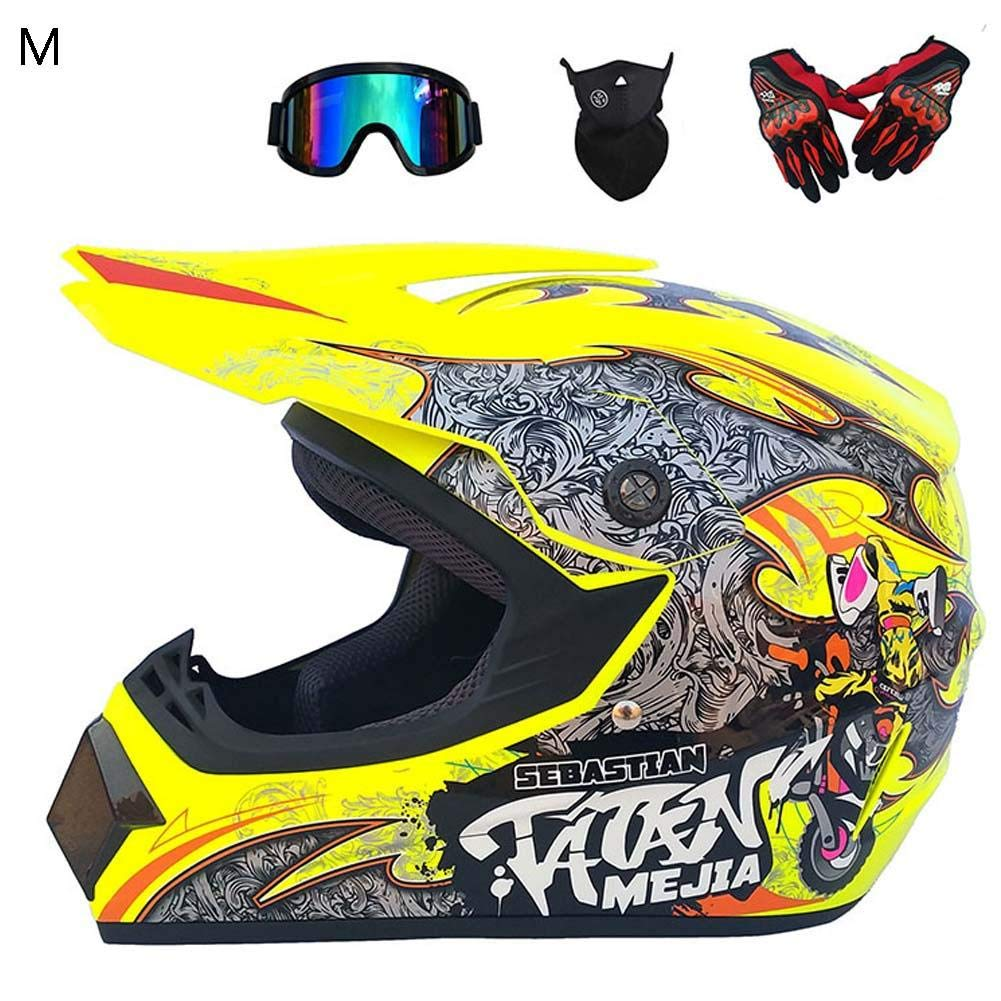 4 des Sets Motorrad Motocross Motorradhelme /& Windschutzmaske /& Handschuhe /& Brille Maske M/änner Langlauf Motorrad Vollhelm Road Racing Helm CatcherMy Motorradhelm