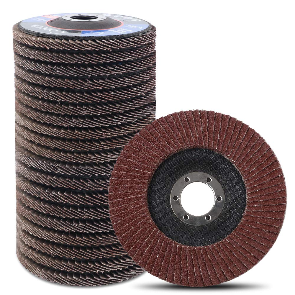 Coceca 20pcs Flap Disc Flap Wheel 4-1 2 Inches for Angle Grinder, Type 27 Aluminum Oxide Abrasive(40 60 80 120 Grits) by Coceca