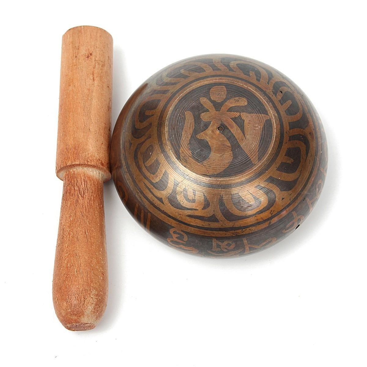 Yoga Singing Bowl - Yoga Meditation Bowl - Gilt Bronze Yoga Singing Bowl Buddhist Resonance Chakra Meditation With Hammered (Yoga Singing Bowl Set)