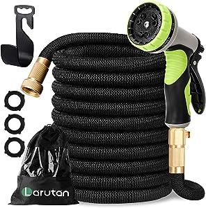 LARUTAN Garden Hose-100ft Expandable Water Hose with 9 Function Nozzle-Strongest Triple Core Latex -3/4
