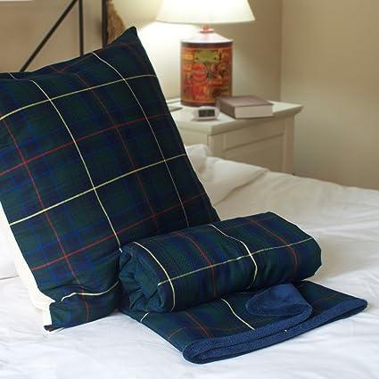Conjunto manta y cojin Escoces - escoces verde - juego manta cojin - ropa de cama