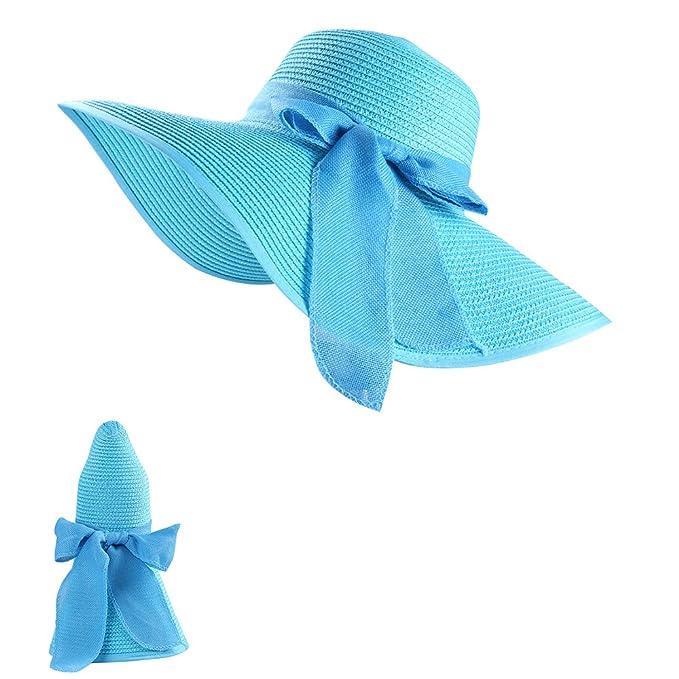 9caa8276a35 Womens Foldable Floppy Summer Sun Beach Straw Hats Accessories Wide Brim  Cap (Aqua)