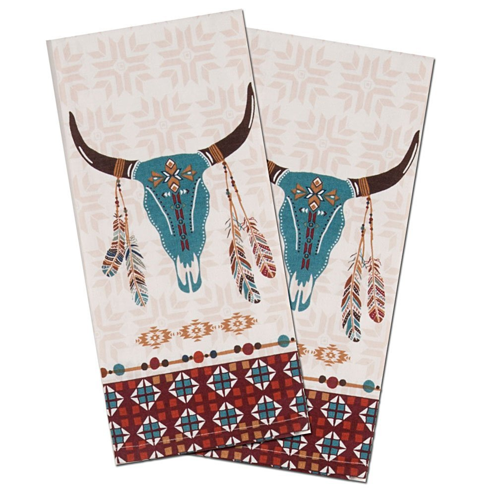 Southwest at Heart Western Cattle Skull Kitchen Towels Set of 2