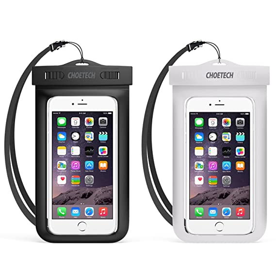 80084caee60 Funda Impermeable Universal, CHOETECH 2 Unidades Funda Impermeable Celular  Transparente PVC+ABS para iPhone X ...