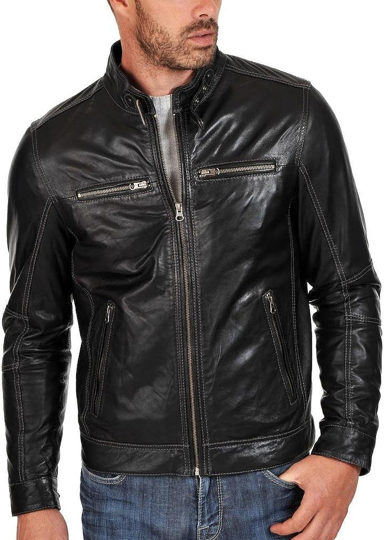 1510193 Lasumisura Mens Black Genuine Lambskin Leather Jacket