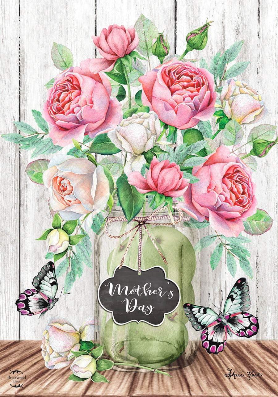 Briarwood Lane Mother's Day Roses Garden Flag Mason Jar Floral 12.5