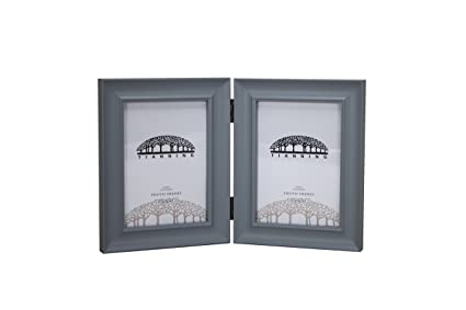 Double App 57 Wooden Photo frame Picture Frame (Grey),5x7 Inch Hinged  Picture Frame, Two 5x7 Inch Pictures, Stands Vertically on Desktop or Table  ...