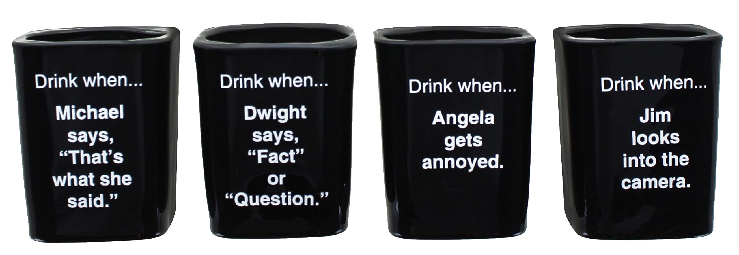 The Office Collectible Character Shot Glass Drinking Game | Features Michael, Jim, Dwight, & Angela | 2 Ounce Glasses…