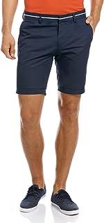 oodji Ultra Hombre Pantalón Corto de Algodón con Decoración en la Cintura Azul ES 48 / XL RIFICZECH s.r.o. 2L600006M