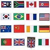 BENECREAT 16pcs 国旗アイロンアップリケ ワッペン ミアップリケ 服縫製/DIY/デコレーションへ